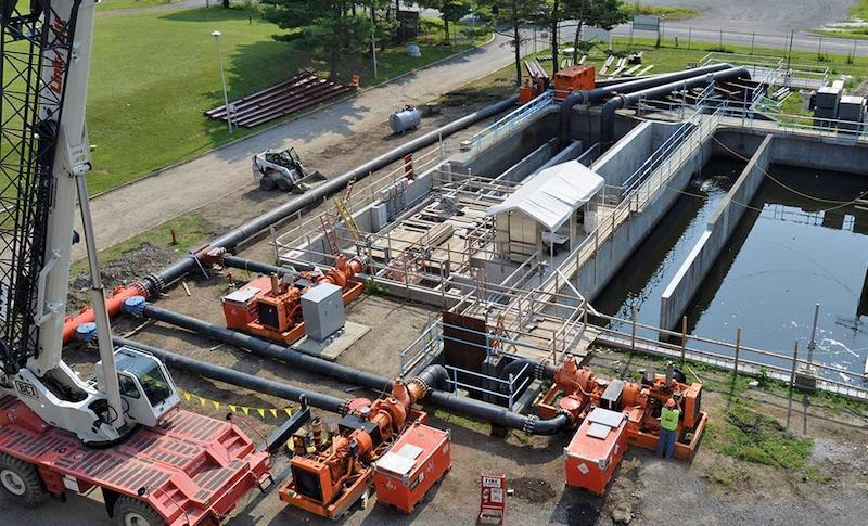 The temporary bypass system allowed Albany County and BCI Construction to reduce the footprint of its wastewater treatment plant upgrades.